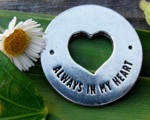Heart Pocket Funeral Favor Always in my heart