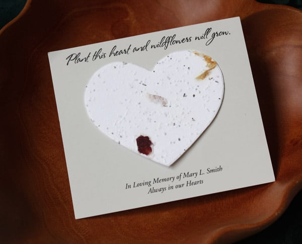 Seed cards heart personalized memorial cards
