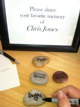Memory Stones at a Funeral Written on Back