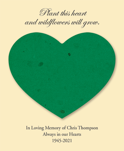 Green Seed Cards Heart Shaped