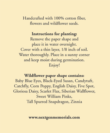 Back heart card instructions planting