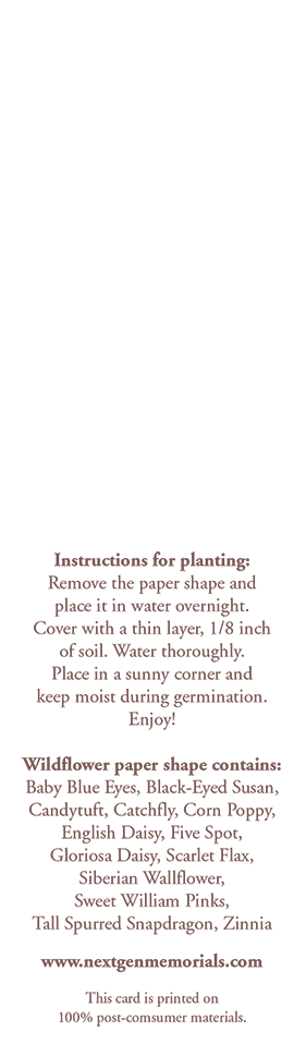 Planting Instructions for seed bookmarks