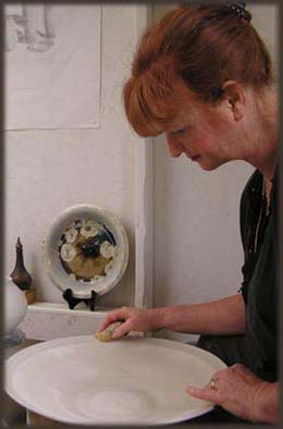 Artist Sharon at Work