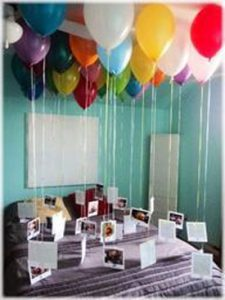 Photos attached to balloons