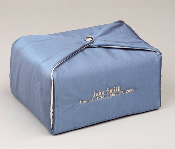 Steel Blue Embroidered Fabric Urn