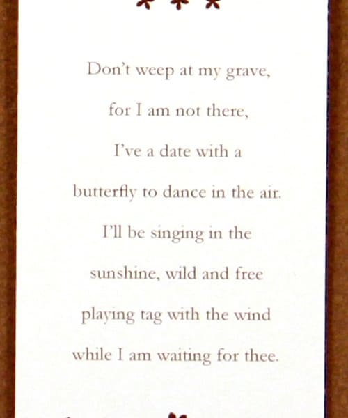 Butterfly Bookmark Poem