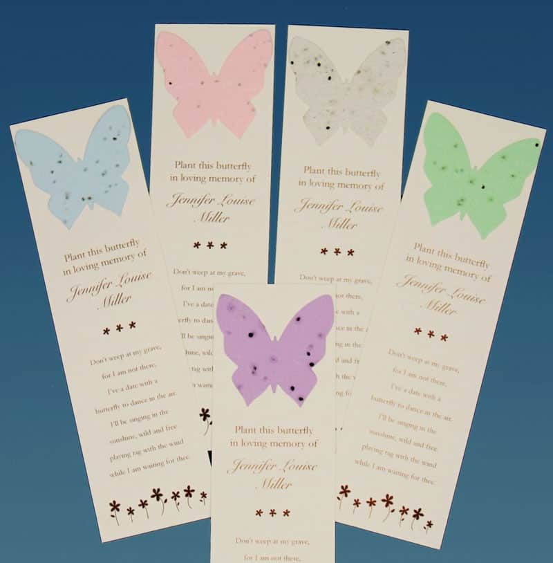 butterfly bookmark with seeds ideal gift for funeral favor for