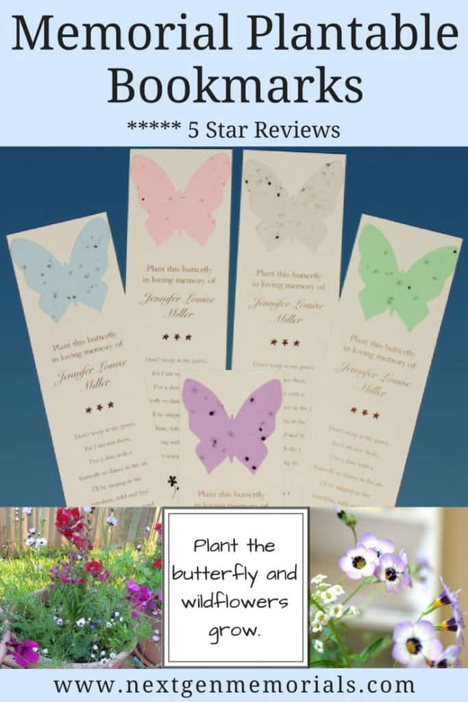 Memorial Plantable Bookmarks with Butterflies