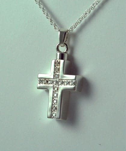 Silver Cross with Stones Pendant
