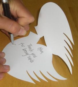 Writing Inside Dove Memory Card for Funerals