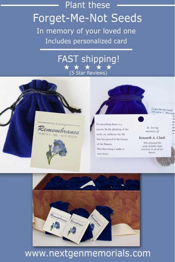 Forget me not seed packets in memory of your loved one