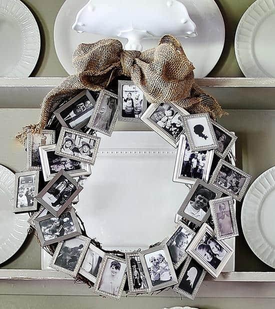 Photo frames shaped like wreath