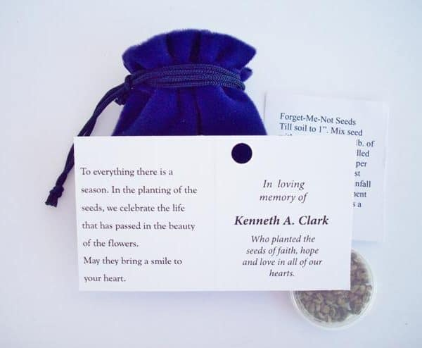 Inside of card on forget me not seed packets