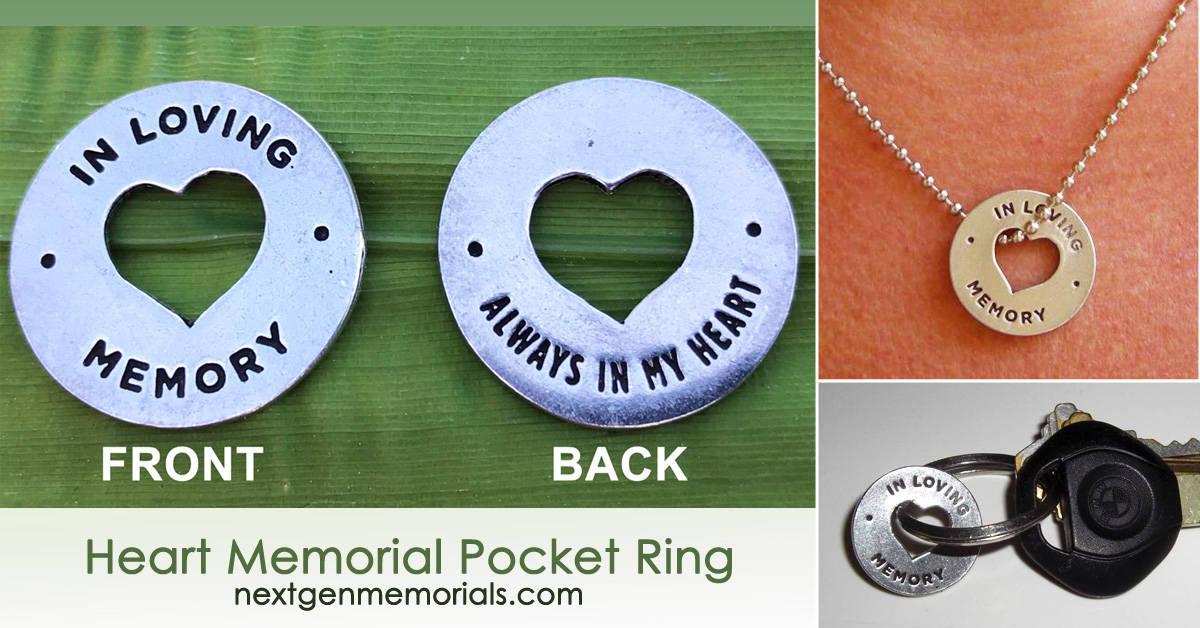 Heart Memorial Pocket Ring Funeral Favors