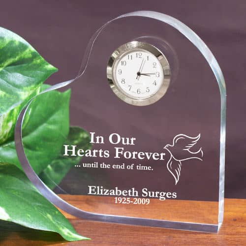 Glass Remembrance Heart with Clock