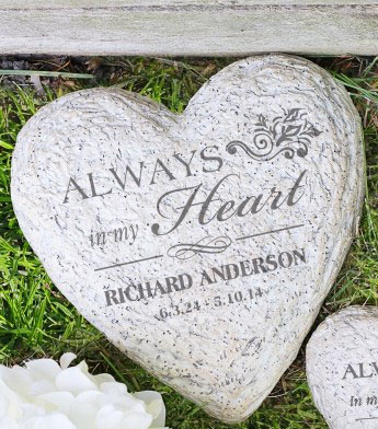 Personalized Celebration of Life Heart Memorial Garden Stone