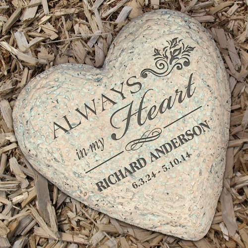 Personalized Celebration of Life Heart Garden Stone