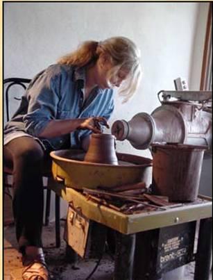Jane making pottery