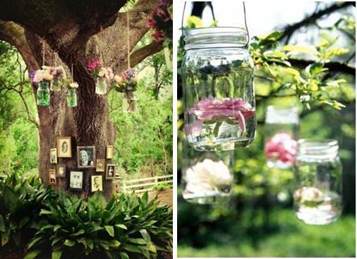 Mason Jars Flowers on Tree