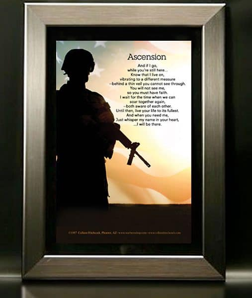 Soldier Military Memorial Framed Poem with Nickel Frame