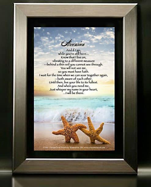 Framed Memorial Print Containing Ascension Poem Next Gen