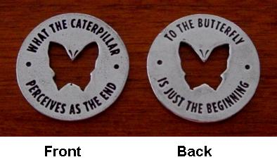 Front and Back View of Butterfly Memorial Coin