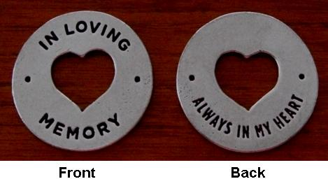 Front and Back View Heart Memorial Coin
