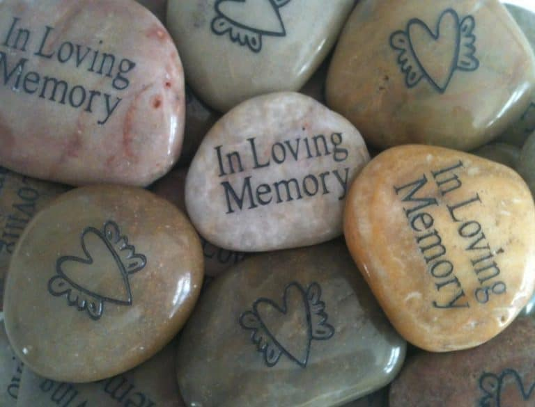 Engraved Memory Stones for Funeral with Heart and Wings on Back