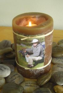 Memory Stones for Funeral with Candle and Photo
