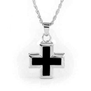 Silver Onyx Cross Urn Necklace