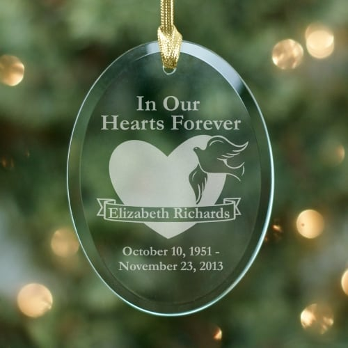 Personalized Glass Memorial Christmas Holiday Ornament - Personalized Glass Memorial Christmas Holiday Ornament Says Forever