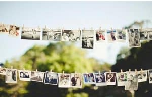 Photos Pinned to a Clothesline