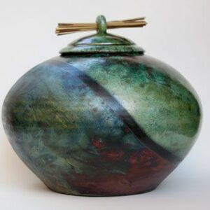 Raku Ceramic Urn with Diagonal Stripe
