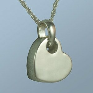 Tilting Heart Silver Necklace Urn for Ashes