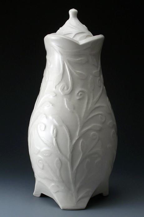 White Floral Ceramic Urn