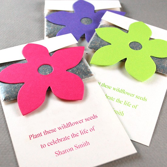 Wildflower seed packets with flowers