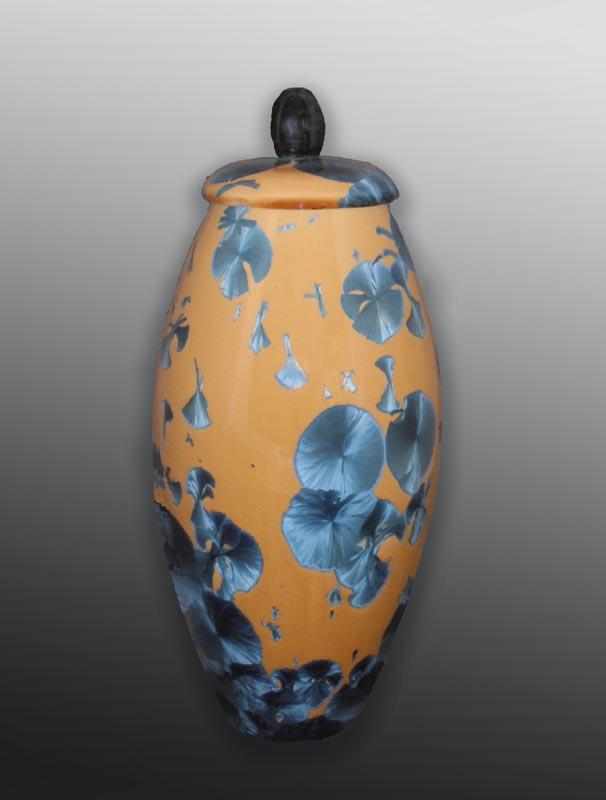 Yellow Blue Cobalt Ceramic Urn