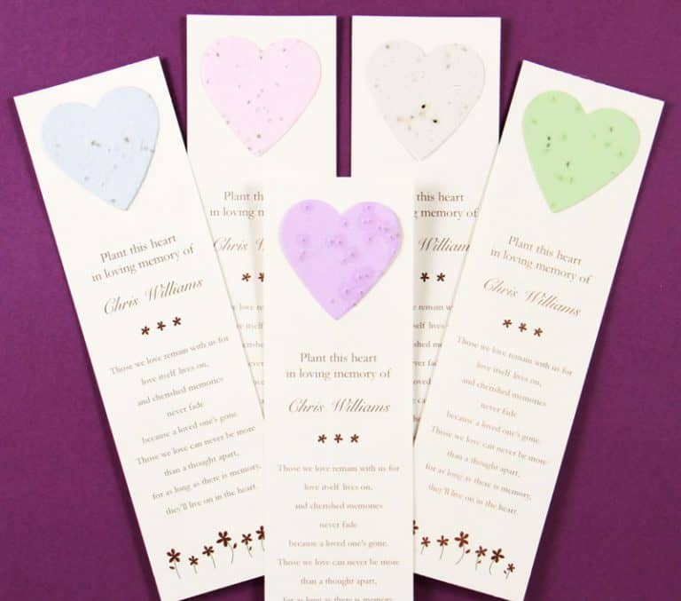 Heart Bookmark Forget-me-not and Wildflower Seeds in Bookmarks