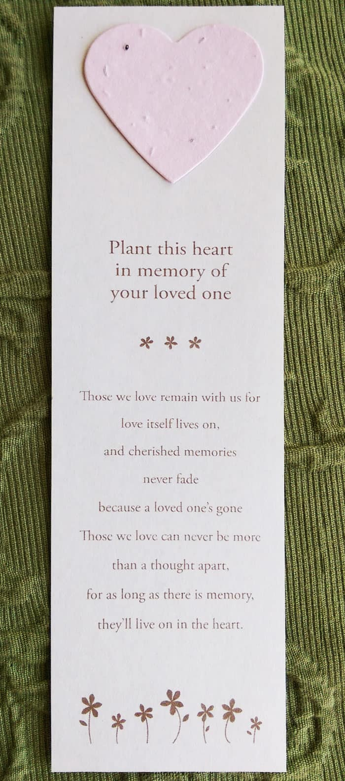 Heart Bookmark with Generic Message