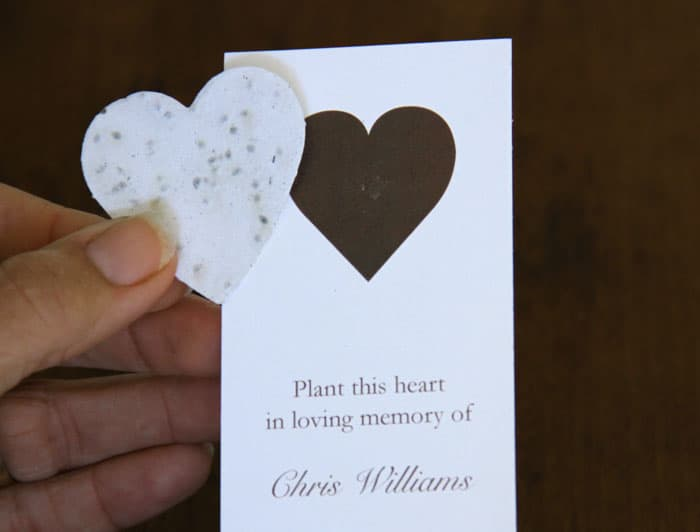 Heart Memorial Bookmark with Heart Shape Removed