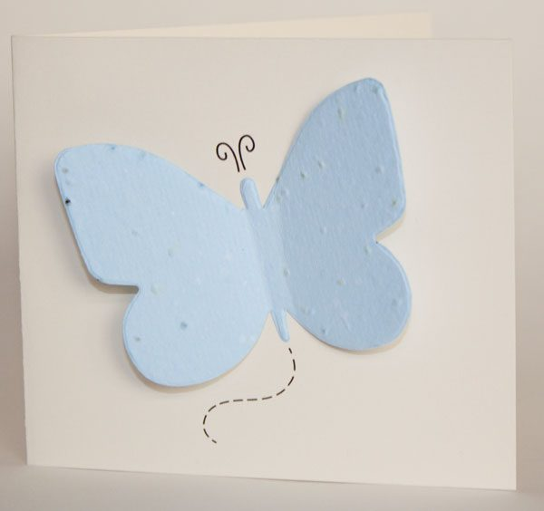 Butterfly Memorial Seed Card with blue seed paper