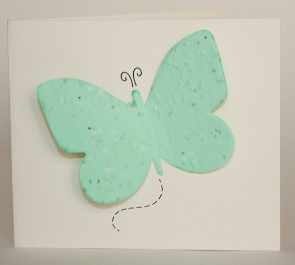 Butterfly seed card with green seed paper