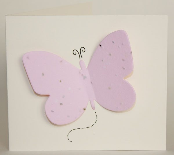 Butterfly seed card with pink seed paper