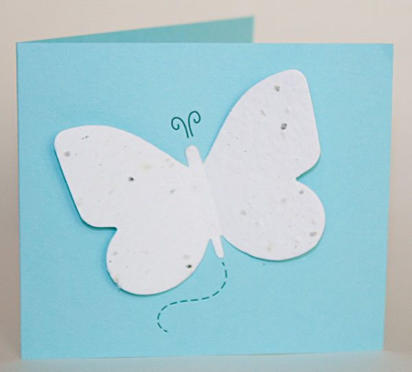 Blue butterfly seed card with white seed paper