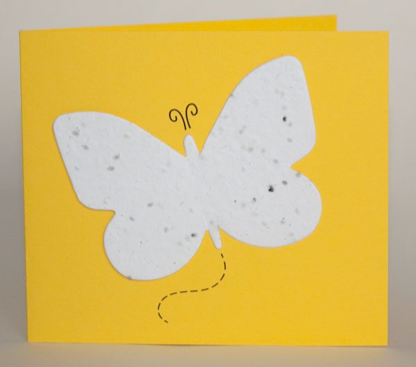 Yellow butterfly seed card with white seed paper