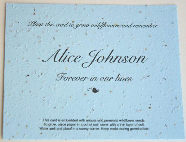 Blue Flat Memorial Seed Card