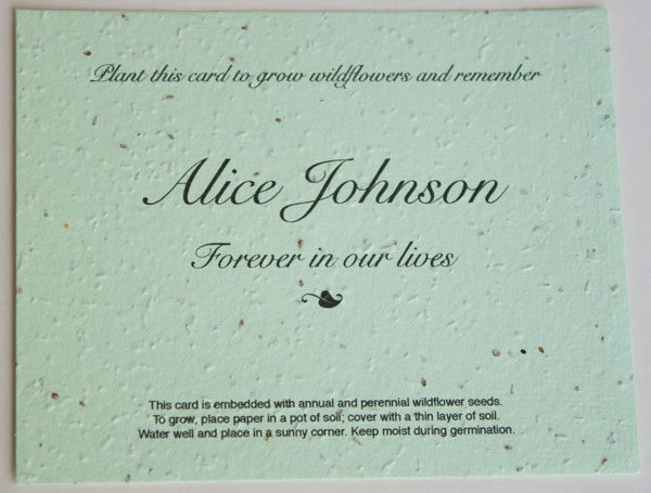 Green Flat Memorial Seed Card