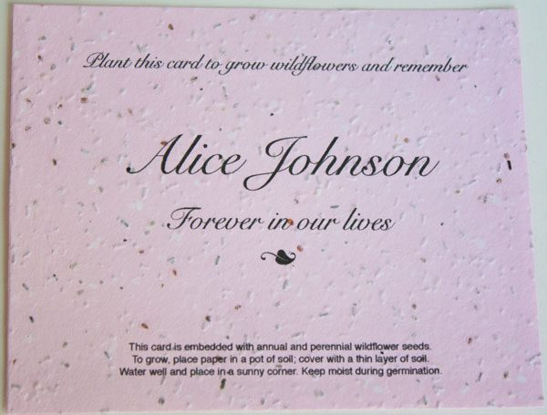 Pink Flat Memorial Seed Card