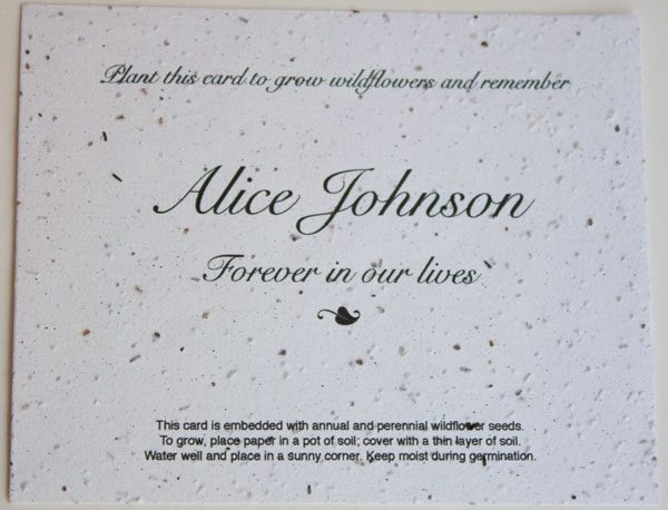 White Flat Memorial Seed Card