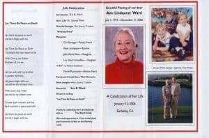 Example memorial program page 1